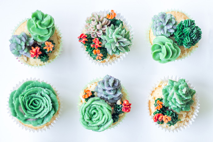 Basic cupcake workshop - cactus & succulent decoraties